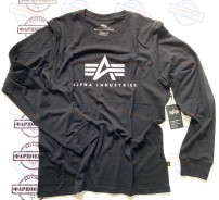 Футболка Alpha Industries BASIC LOGO LONG SLEEVE (BLACK)