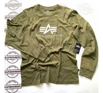 Футболка Alpha Industries BASIC LOGO LONG SLEEVE (OLIVE)