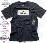 Футболка Alpha Industries REFLECTIVE LOGO (BLACK)