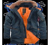 Аляска/Парка Alpha Industries SF N-3B (Stell blue/Orange)